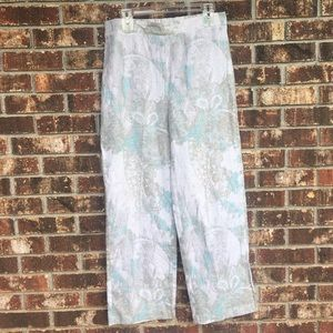 Chico's Linen Pants White Paisley Size 1 Med